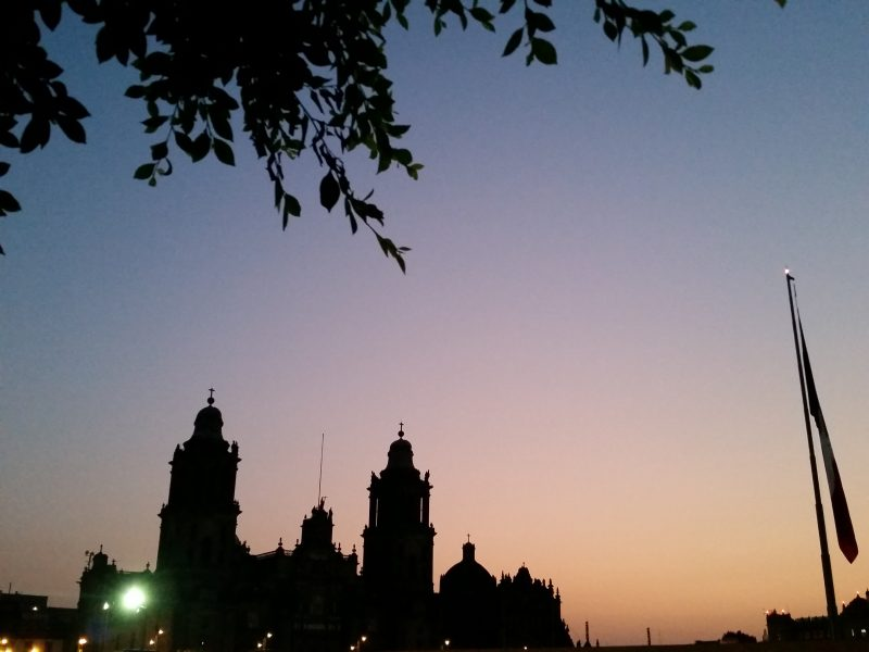 Cathedral in Mexico City at sunrise