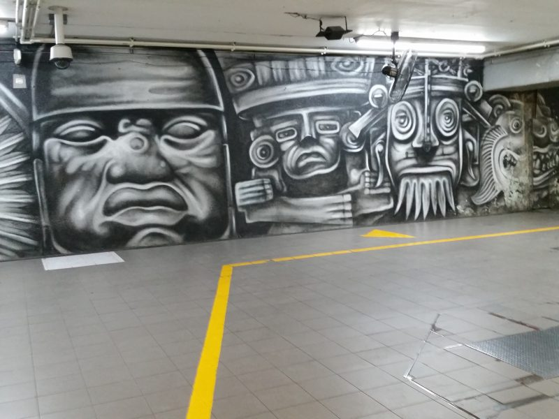 An example of colorful urban artwork in the Metro station of Mexico City.
