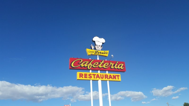 A googie style sign for a cafeteria in Farmington, New Mexico.