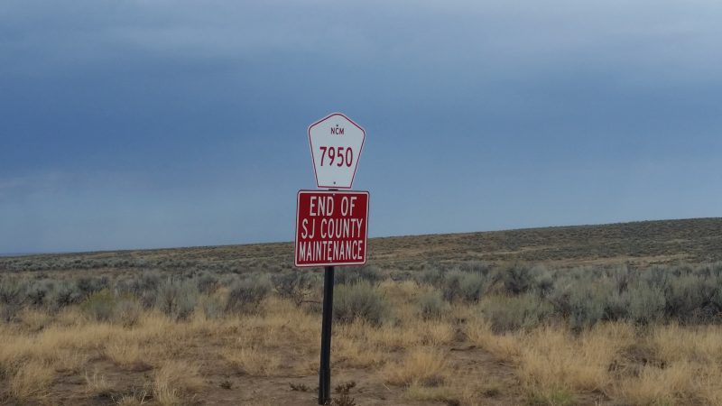 A San Miguel County Road Sign for route 7950 in New Mexico.