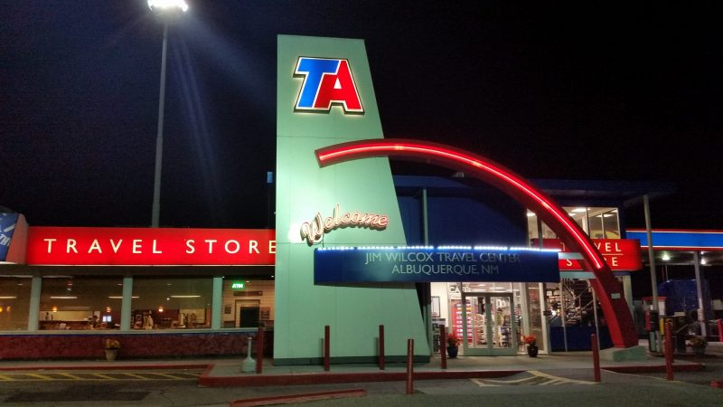 The exterior of the TA Truck Stop in Albuquerque, New Mexico, one of the free places to park for van lifers passing through the Southwest.