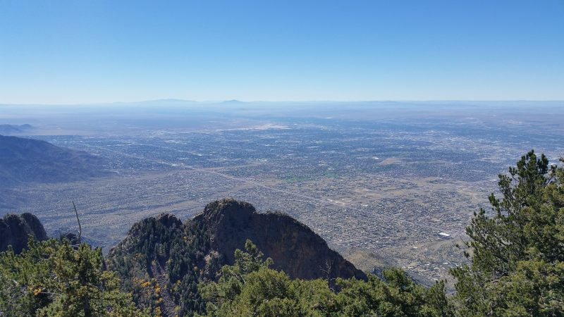 A clear view of Albuquerque from the top of Sandia Peak, one of the most popular and easily-accessible day trips from Albuquerque.