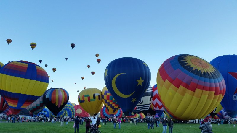 a field with people surrounding many hot air balloons.