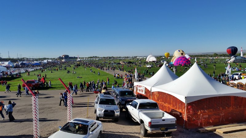 2 tents in front of balloon fiesta park in Albuquerque.
