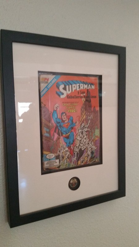framed superman comic book