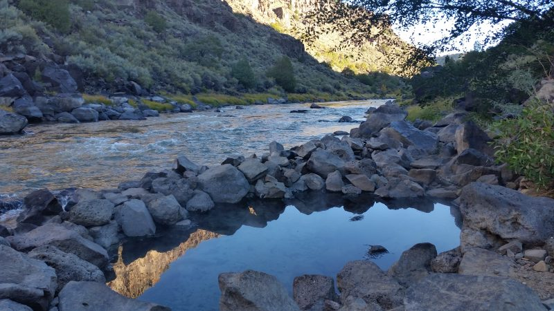 A view of the Rio Grande River from one of three Taos hot springs in the area.