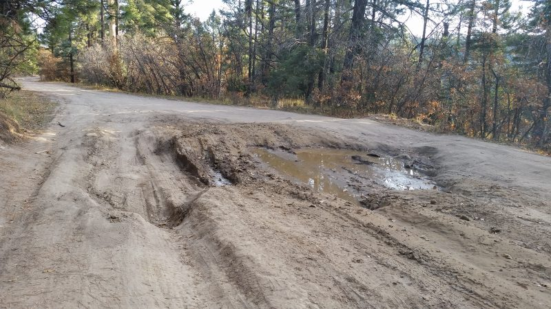 Muddy, rutted dirt road