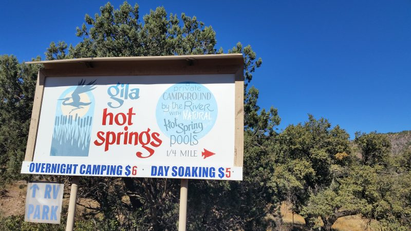 A sign for Gila Hot Springs Campground.