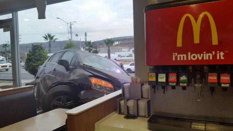 A car that crashed into McDonald's in Ensenada, Mexico.