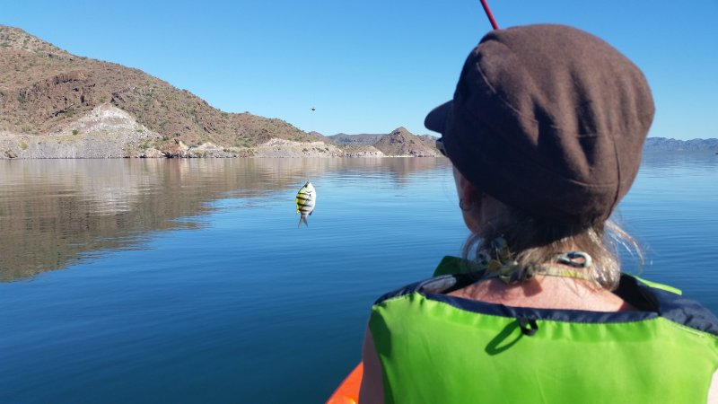 A woman with a green life vest catching a small fish off the coast of Baja California.