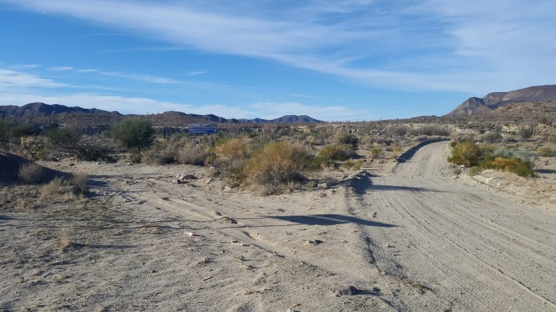 Two dirt roads in the middle of the desert in Baja California.