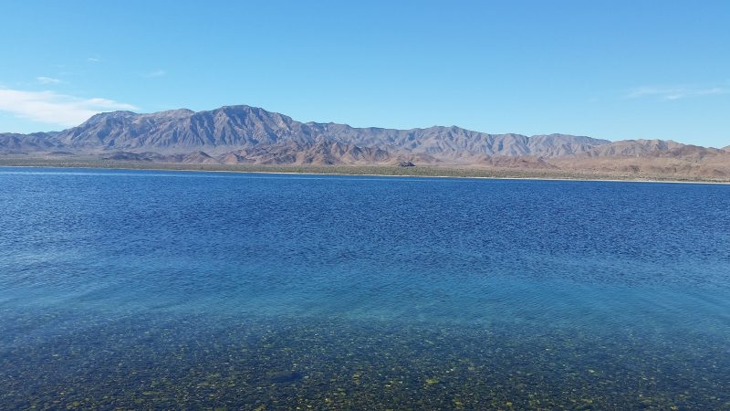 Pebbles underneath crystal clear water with some desert mountains of Baja California in the background.