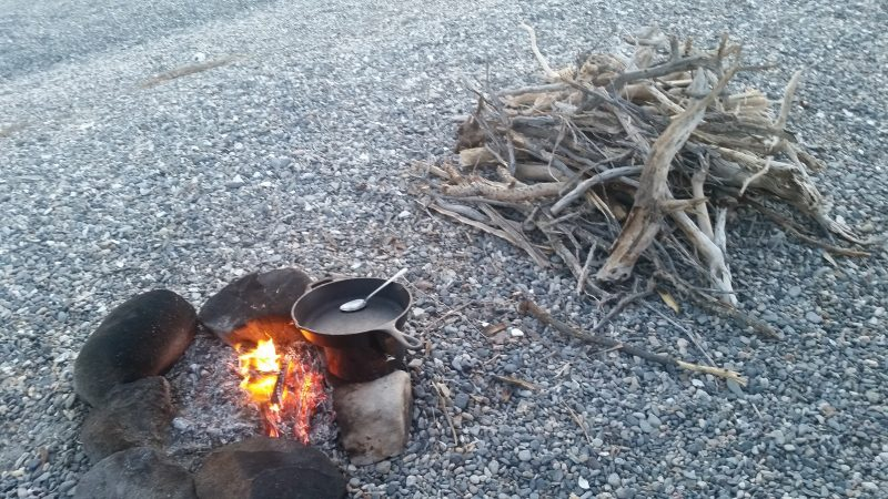 Baja camping on the beach with a fire and a skillet and a pile of fire wood nearby.
