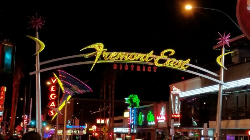 Neon sign for fremont east district in las vegas, nevada.