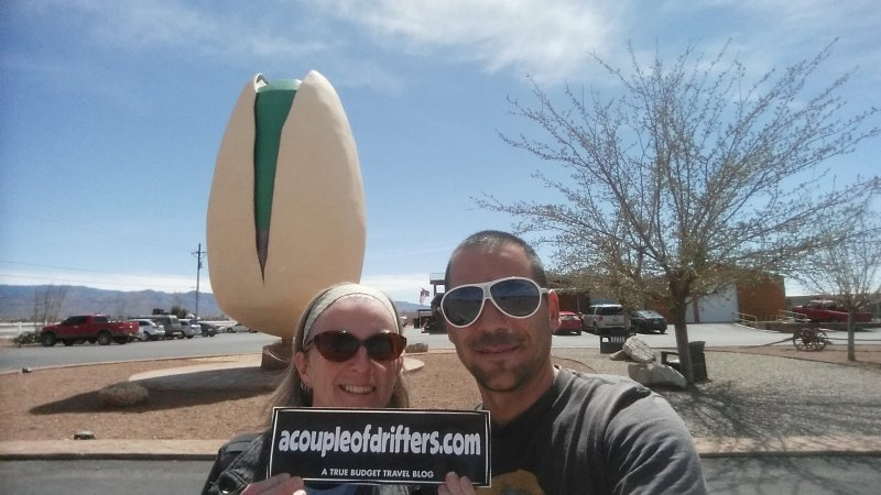 A man and a woman wearing sunglasses and holding a sign in front of a very large pistachio nut.