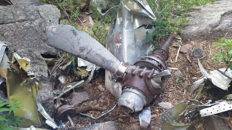 A twisted propeller from the wreckage of a TWA plane which crashed in the mountains above Albuquerque.
