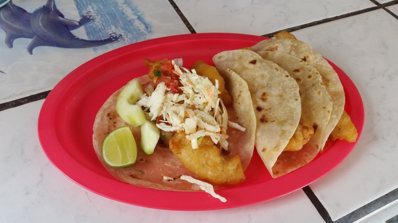 A red plate of fish tacos with salsas and limes on the Baja Peninsula in Mulege, Mexico.