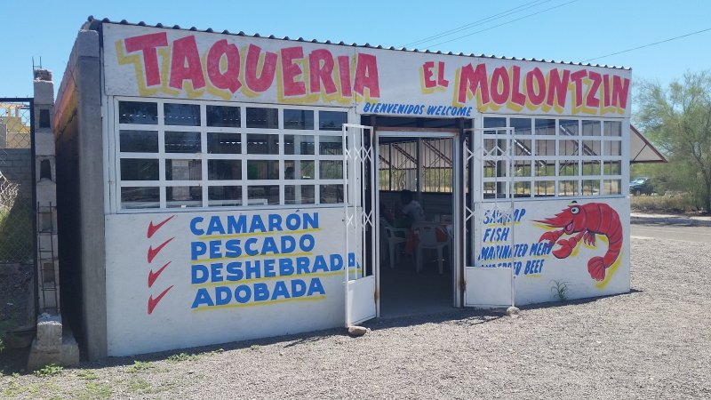 The front of Taqueria El Molontzin, a popular fish taco restaurant in Loreto, Mexico.