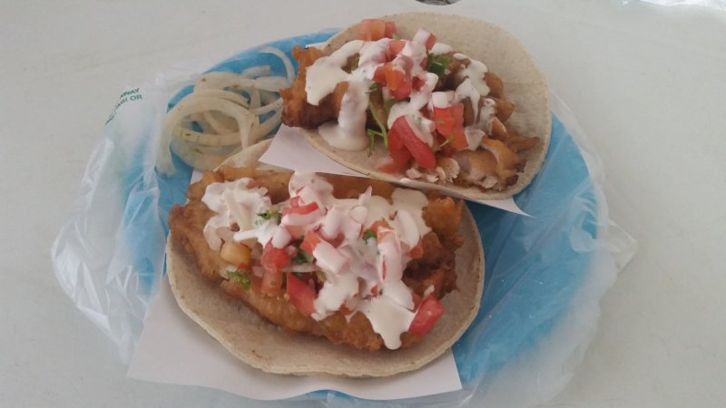 Two fish tacos on a blue plate at Tacos de Pescado El Estadio, La Paz, Baja Sur, Mexico.