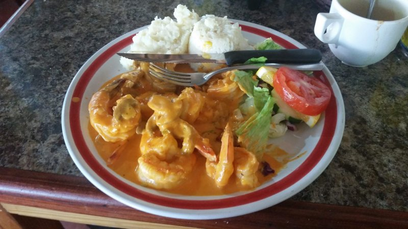 Shrimp with a cream sauce on a plate in La Paz, Mexico.