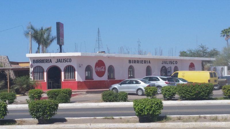 A birria restaurant in Mexico as seen from the road.
