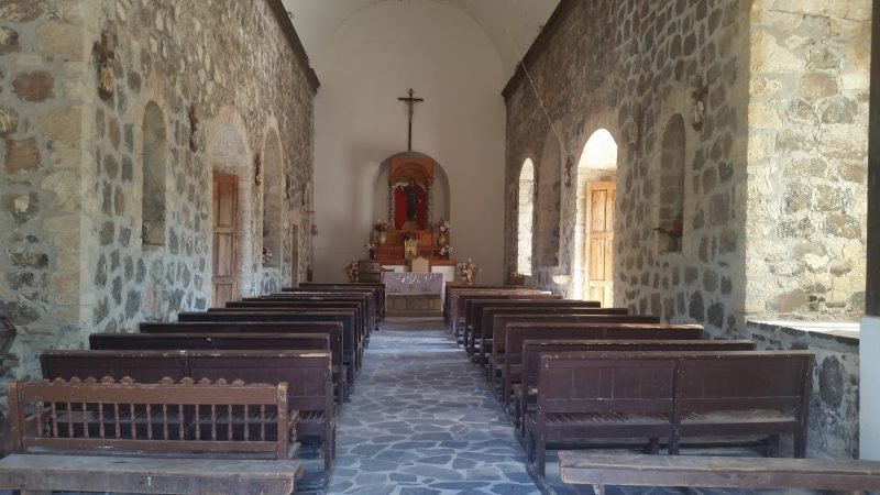 Interior of a Baja mission in Mexico.