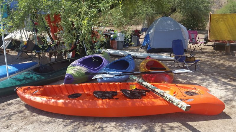 Kayaks and tents beneath a tree. on a baja camping beach.