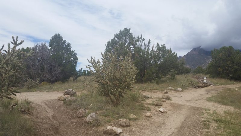 A junction of 3 hiking trails in the foothills of Albuquerque against a cloudy sky.
