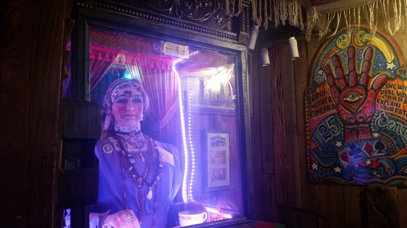 Vintage fortune teller arcade amusement game at Tinkertown Museum, one of the more quirky day trips from Albuquerque.