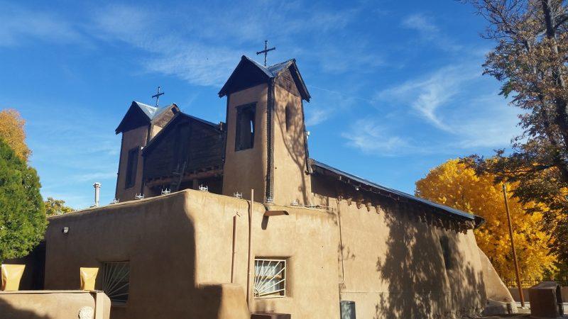 El Santuario de Chimayó in New Mexico in autumn along the High Road to Taos from Santa Fe.