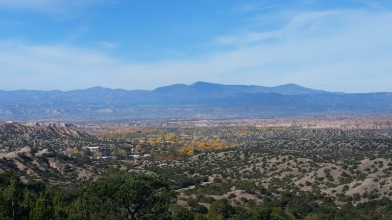 View of Rio Grande Valley from Highway 76 in New Mexico along the high road to Taos from Santa Fe.