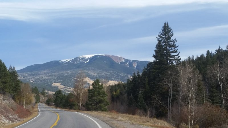 A winding road with pine trees on the side and a snow capped mountain on the Enchanted Circle Scenic Byway, a New Mexico scenic drive near Taos.
