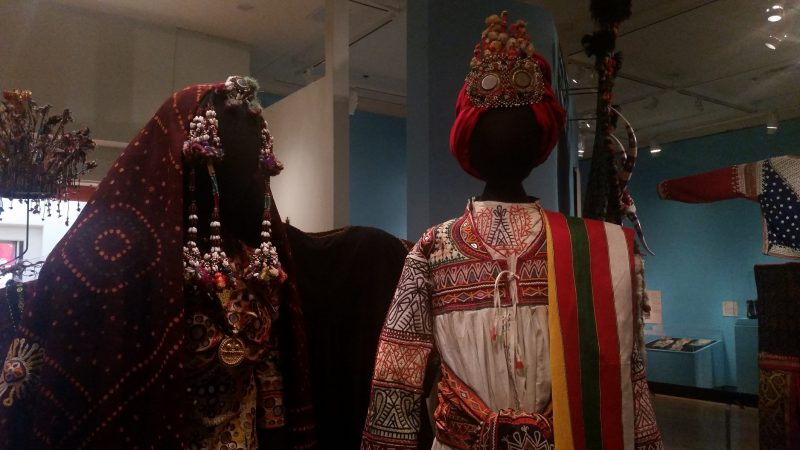Two traditional wedding outfits from India at the International Museum of Folk Art in Santa Fe, New Mexico.