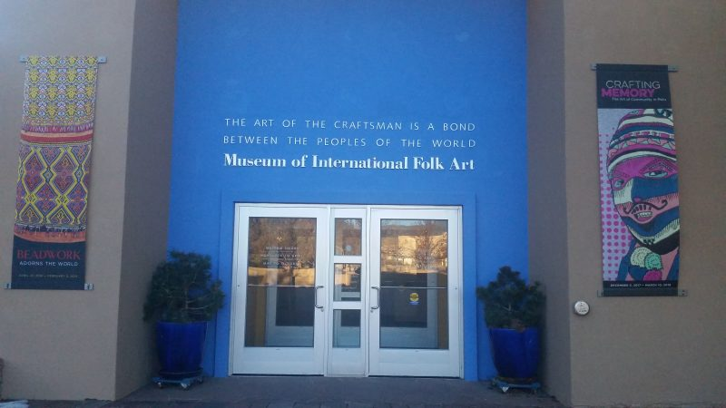 The front entrance of the Museum of International Folk Art in Santa Fe, New Mexico.