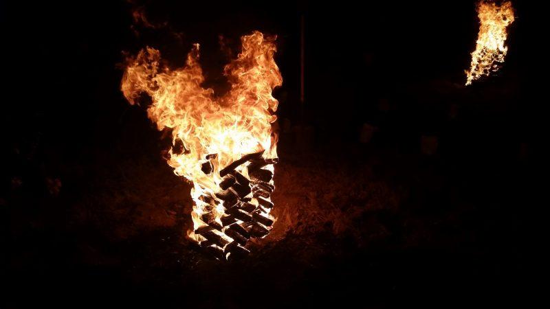 A luminaria bonfire burning at the Las Posadas festival in Santa Fe.
