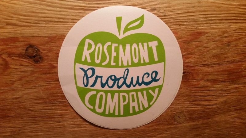 Logo sticker for Rosemont Produce Company.