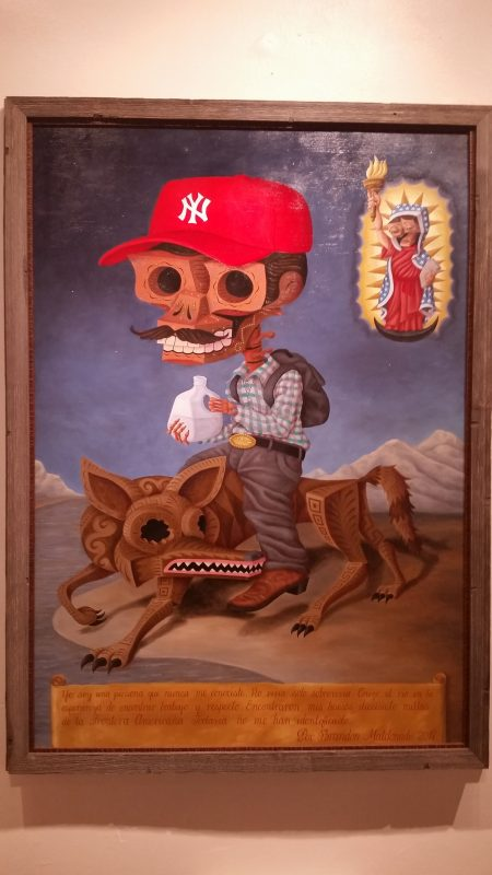 Caricature painting of a Mexican illegal migrant at a museum in Santa Fe, New Mexico.