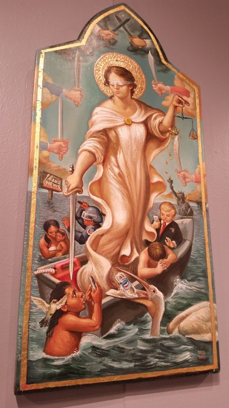 A contemporary work of religious art at a museum in Santa Fe.