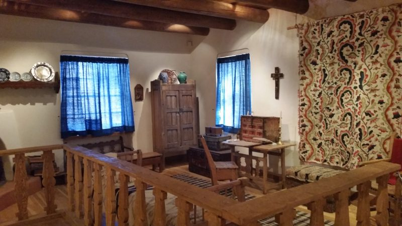 A recreated interior of a Spanish Colonial home at a museum in Santa Fe, New Mexico.