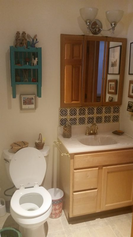 A bathroom with a sink and toilet