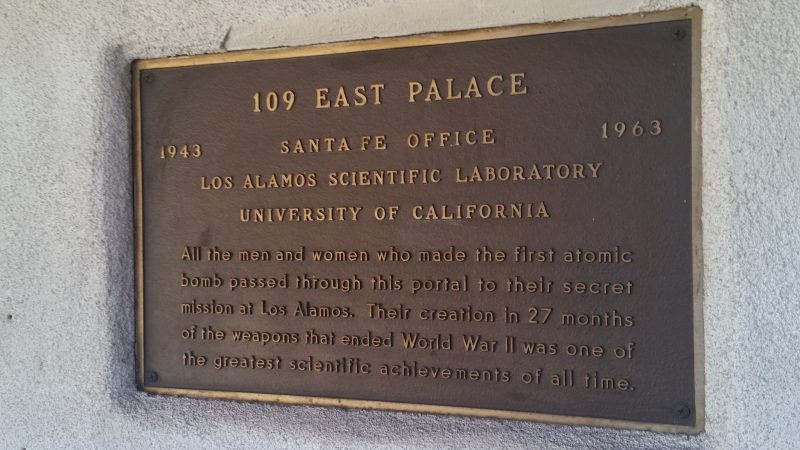 A commemorative plaque for 109 East Palace Street in Santa Fe, New Mexico.
