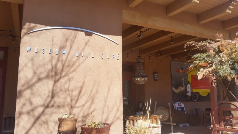 The entrance to Museum Hill Cafe in Santa Fe, New Mexico.