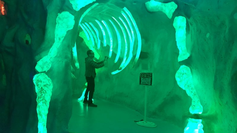 A man drumming on the florescent rib cage of a woolly mammoth at Meow Wolf