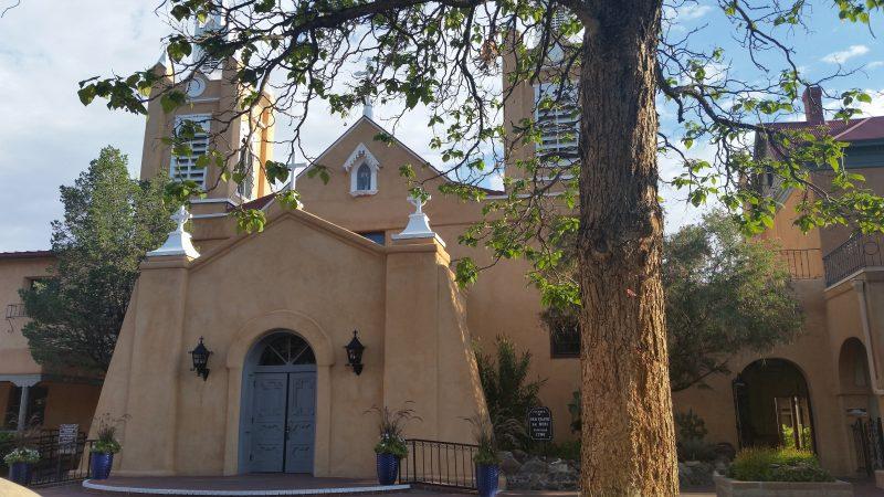 The adobe San Felipe de Neri church in Old Town Albuquerque, New Mexico.