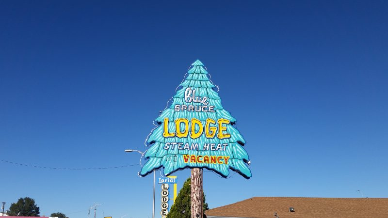 Old neon Route 66 sign for Blue Spruce Motel in Gallup, New Mexico. Sign is of a blue spruce.
