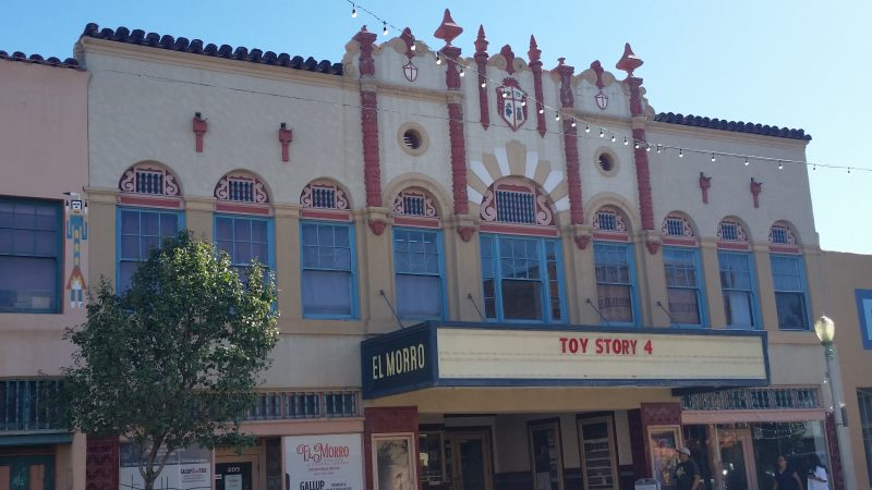 Old El Morro theatre from the 1920's, Gallup, New Mexico with lights strung across the road.