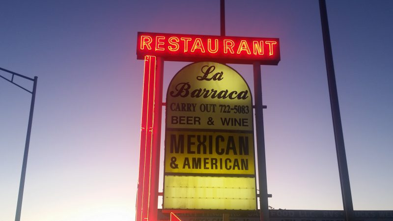Neon sign for one of the classic Route 66 restaurants in Gallup NM.