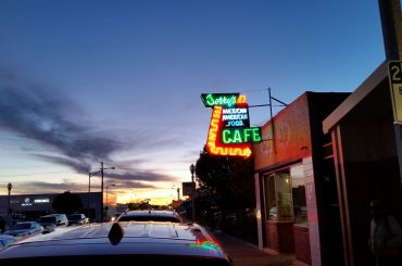 A neon sign for Jerry's Cafe in Gallup NM.