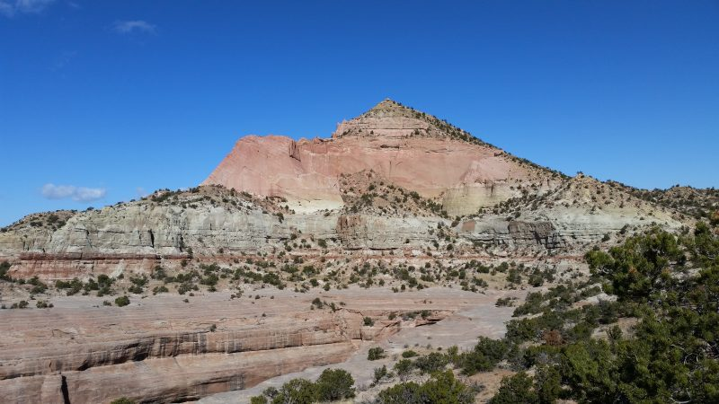 Pyramid Rock, as seen from a hiking trail at Red Rock Park near Gallup, New Mexico.