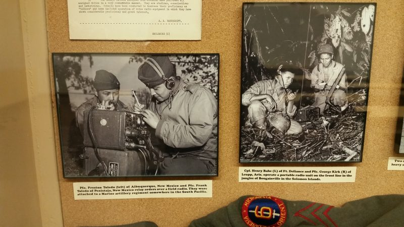 Black and white Navajo code talker photographs in an exhibit
